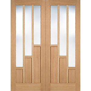 Coventry Internal Glazed Unfinished Oak 3 Lite Pair Doors - 1220 x 1981mm