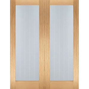 Mexicano Internal Glazed Unfinished Oak 1 Lite Pair Doors - 915 x 1981mm