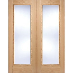 Vancouver Pattern 10 Internal Glazed Prefinished Oak 1 Lite Pair Doors - 1372 x 1981mm