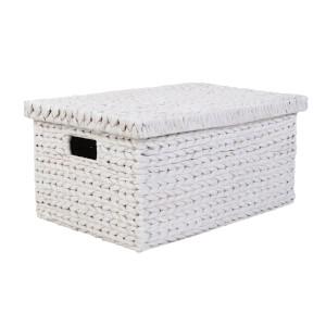 Large Water Hyacinth Storage Box - White Washed