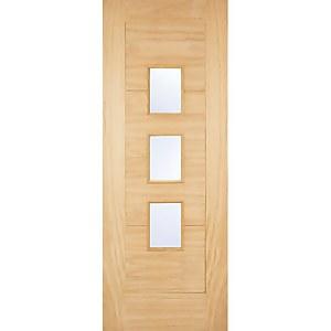 Arta External Glazed Unfinished Oak 3 Lite Part L Compliant Door - 762 x 1981mm
