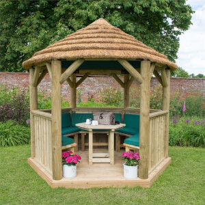 Forest (Installation Included) Thatch Roof Furnished Gazebo - 3m - Green