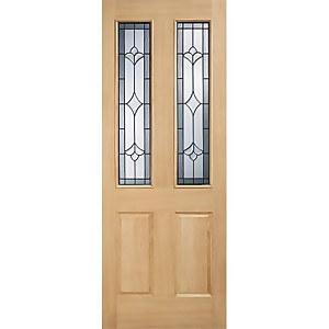 Salisbury External Glazed Unfinished Oak 2 Lite Part L Compliant Door - 838 x 1981mm
