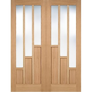 Coventry Internal Glazed Prefinished Oak 3 Lite Pair Doors - 915 x 1981mm