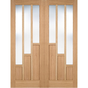 Coventry Internal Glazed Prefinished Oak 3 Lite Pair Doors - 1372 x 1981mm