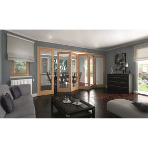 Shaker Oak 1 Light Clear Glazed Interior Folding Doors 5 x 1 2047 x 3771mm