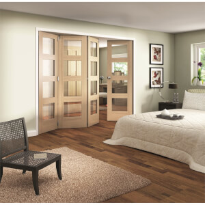 Shaker Oak 4 Light Clear Glazed Interior Folding Doors 3 x 1 2047 x 2849mm