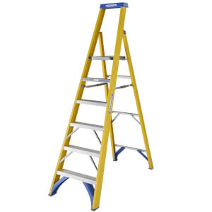 Werner Fibreglass Platform Step Ladder - 6 Tread