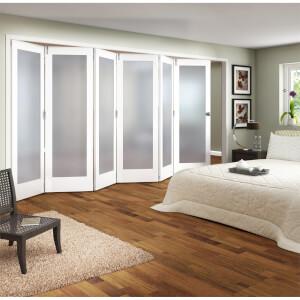 Shaker White Primed 1 Light Obscure Glazed Interior Folding Doors 6 x 0 2047 x 4227mm