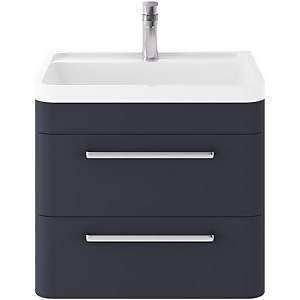 Balterley Honour 600mm Wall Hung 2 Drawer Unit With Basin - Matt Blue