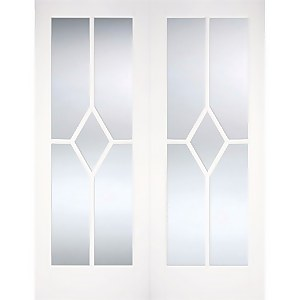 Reims Internal Glazed Primed White 5 Lite Pair Doors - 1524 x 1981mm
