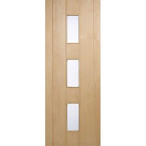 Copenhagen External Glazed Unfinished Oak 3 Lite Door - 762 x 1981mm