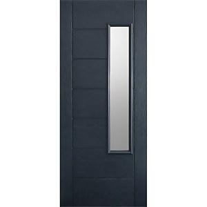 Newbury External Glazed Anthracite Grey GRP 1 Lite Door - 838 x 1981mm