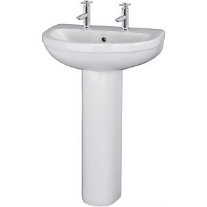 Balterley Vito 2 Tap Hole Basin & Full Pedestal - 550mm