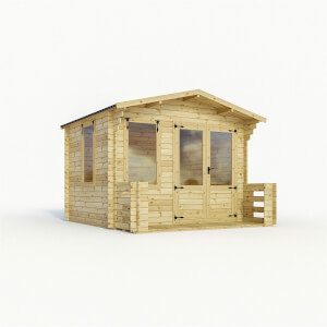 Mercia (Installation Included) 3.3x3.7m Sherwood 19mm Log Cabin with Veranda