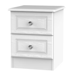 Florence White Ash 2 Drawer Bedside Cabinet