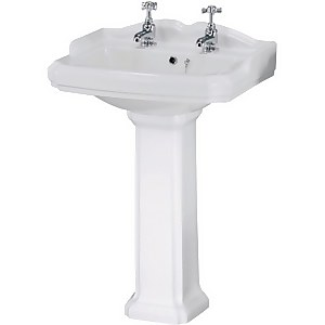 Balterley Legacy 2 Tap Hole Basin and Full Pedestal - 580mm