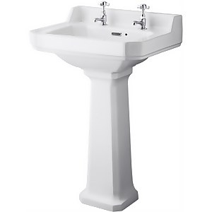 Balterley Harrington Comfort Height 2 Tap Hole Basin Pedestal - 560mm