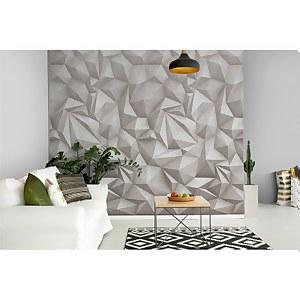 Grandeco 3D Concrete Grey Geometric Digital Wallpaper Mural