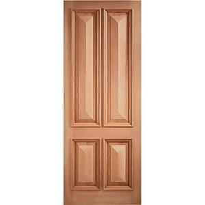 Islington External Unfinished Hardwood 4 Panel Door - 762 x 1981mm