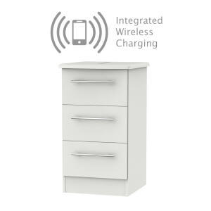Siena Grey Matt 3 Drawer Bedside Cabinet - Rechargeable