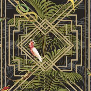 Holden Decor Congo Geometric Smooth Metallic Black Wallpaper