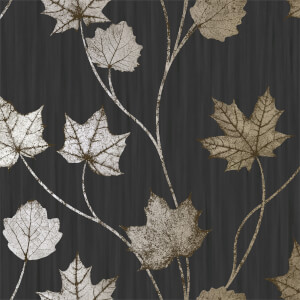 Holden Decor Maple Leaf Smooth Metallic Black Wallpaper