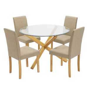 Oporto 4 Seater Dining Set - Anna Dining Chairs - Beige