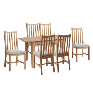 Kea 1.2m Extending 6 Seater Dining Set - Oak