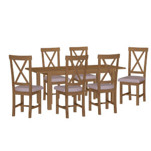Newlyn 1.6m Extending 6 Seater Dining Set - Oak