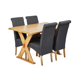 Seville 4 Seater Dining Set - Amelia Dining Chairs - Grey