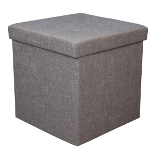 Linen Ottoman - Grey - 40x40x40cm