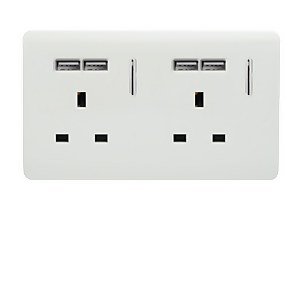 Trendi Switch 2 Gang 13 amp short switched Plug 4x USB Socket in Screwless White