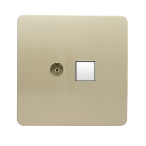 Trendi Switch TV Co-axial & PC Ethernet Sockets  in Screwless Gold
