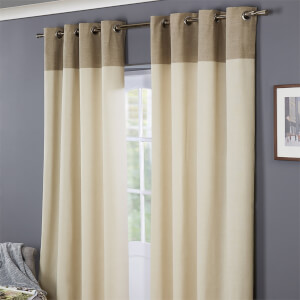 Oslo 100% Cotton Eyelet Curtains  66 x 72 - Natural