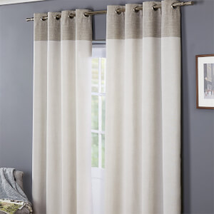 Oslo 100% Cotton Eyelet Curtains 46 x 54 - Grey