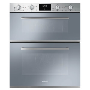 Smeg DUSF400S 60cm Cucina Stainless Steel and Silver Glass Double Under Counter Multifunction Oven
