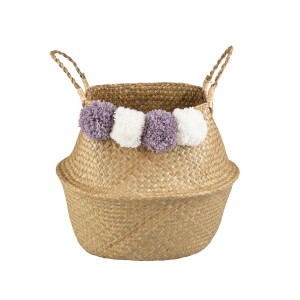Seagrass Foldable Basket with Pom Poms
