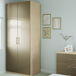 Modular Bedroom Slab Double Wardrobe - Champagne