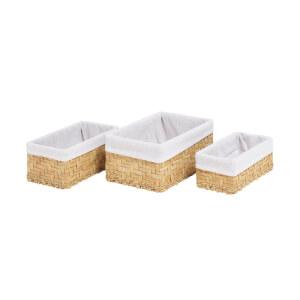White & Natural Water Hyacinth Baskets - Set of 3