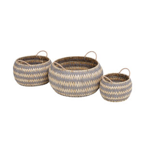 Grey Round Flatweave Baskets - Set of 3