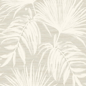 Holden Decor Bambara Leaf Textured Metallic Taupe Wallpaper