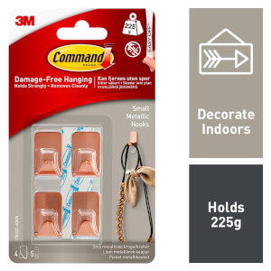 Command Small Metallic Hooks - Copper Colour - 4 Hooks - 5 Strips