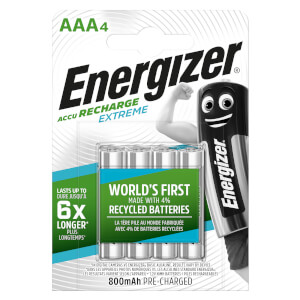 Energizer Extreme 800mAh Rechargeable AAA Batteries - 4 Pack
