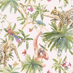 Holden Decor Jungle Animals Smooth Metallic Light Pink Background Wallpaper