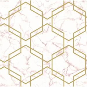 Holden Decor Hexagon Geometric Smooth Metallic Glitter Pink and Gold Wallpaper