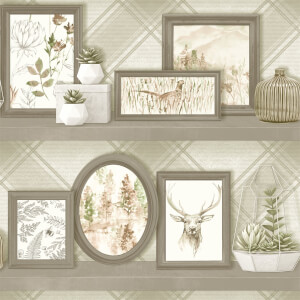 Holden Decor Stag Frames Animal Smooth Beige and Grey Wallpaper