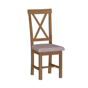 Newlyn Upholstered Cross Back Dining Chair - Set of 2 - Oak