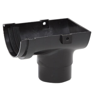 Polypipe Half Round 75mm Stop End Outlet Black