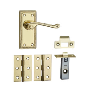 Homebuild Georgian Short Backplate Internal Door Pack - Polished Brass